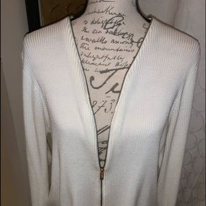 Calvin Klein with gold zipper cream cardigan